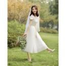 Lovely A-Line Ruffled Neck Tea Length Tulle Wedding Dresses with Satin Bodice