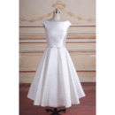 Cute Simple A-Line Tea-Length Satin Reception Bridal Dresses with Slight Cap Sleeves