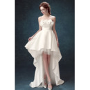 Romantic A-Line Lace Bust High-Low Satin Wedding Dresses with 3D-flowers and Crystal Detailing