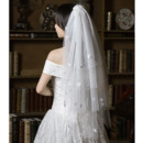 4 Layers Fingertip-Length Tulle with Applique Wedding Veils