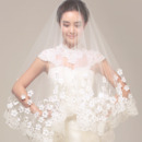 2 Layers Fingertip-Length Tulle with Applique Wedding Veils