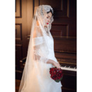1 Layer Floor-Length Lace Appliques Tulle Wedding Veils
