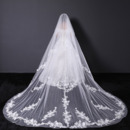 2 Layers Cathedral-Length Tulle with Lace Appliques White Wedding Veils