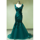 Stylish Scoop Neckline Mermaid Organza Evening Dresses with Beading Floral Applique