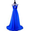 Gorgeous Round/Scoop Neckline Pleated Chiffon Evening Dresses with Rhinestone Beading Bodice and Keyhole