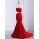 Sexy and Simple Strapless Mermaid Satin Evening Dresses with Cutout Waist and Back