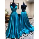 Simle Slender Straps Satin Evening Dresses with Deep V-neck and Strappy Back