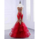 Sophisticated Appliques Strapless Satin Evening Dresses with Breathtaking Layered Skirt