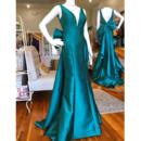 Stylish Double V-Neck Satin Evening Dresses with Big Bow Back