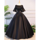 Ball Gown Round/Scoop Neckline Beading Appliques Satin Evening Dresses with Bell Sleeves