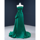 Elegantly A-line Strapless Satin Evening Dresses with Beading Ruched Detail