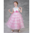 Lovely Tea Length Satin Little Girls Party Dress with Tulle Layered Skirt