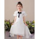 Beautiful Tea Length Chiffon Asymmetrical Hem Flower Girl Dress with Ruffled Sleeves