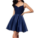 Perfect Spaghetti Straps Short Satin Homecoming Dresses with Beading Appliques Bodice