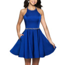 Sexy A-Line Halter Short Backless Homecoming Dresses with Beaded Detail