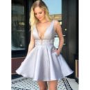 Plunging V-neckline Short Satin Homecoming Dresses with Sexy Exposed Back