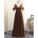 Stunning V-Neck Beaded Waistband Chiffon Plus Size Mother Dress with Short Sleeves