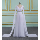 Graceful White Pleated Chiffon Wedding Dresses with Cape Sleeves and Crystal Waist