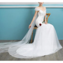 Graceful Mermaid Off-The-Shoulder Tulle Wedding Dresses with Beading Appliques Bodice