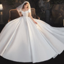 Court Train Satin Wedding Dresses