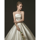 Pleated Skirt Satin Wedding Dresses