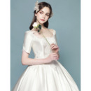 Graceful Ivory Beaded Lace Applique Satin Wedding Dresses with Short Sleeves