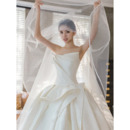 Stunning Ball Gown Ruched Satin Wedding Dresses with Wide Horsehair Edging