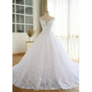 Gorgeous Appliques V-Neck Ball Gown Tulle Wedding Dresses with Crystal Beading Detail