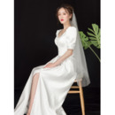 Pretty Scoop Neckline Satin Wedding Dresses with Puff Sleeves and Button Detail