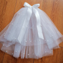Princess Bow Pearl Holy Communion Flower Girl Tiara Headpiece with Comb Veil