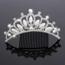 Beautiful Princess Pearl Crystals Silver First Communion Flower Girl Tiara Comb