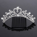 New Design Crystals Heart-inspired Silver First Communion Flower Girl Tiara Comb