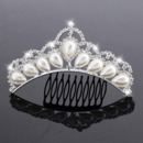 Princess Crystals Pearl Silver First Communion Flower Girl Tiara Comb