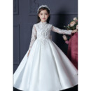 Luxurious Beading Appliques Satin First Communion Flower Girl Dresses with Long Sleeves
