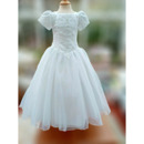 Pretty Princess Ball Gown Appliques Beading Organza First Communion Dresses with Puff Sleeves