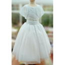 Jacket Beading Embellished Bodice Charming Ball Gown Ruched Organza First Communion Dresses with Beaded Neckline and Waist