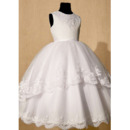 Affordable Appliques Ball Gown Satin Tulle First Communion Dresses with Layered Skirt
