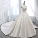 Simple Deep V-neck Court Train Satin Wedding Dresses with Pleated Ball Gown Skirt
