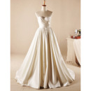 Romantic Sweetheart Court Train Pleated Satin Wedding Dresses with Beading Detail