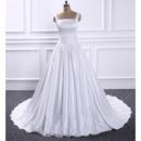 Delicate Square Neckline Satin Wedding Dresses with Appliques Waist and Hem