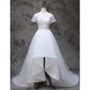 Romantic Asymmetrical High-Low Hem Lace Tulle Wedding Dresses with Beading Petal Detail