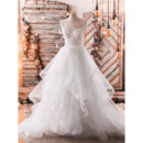 Sexy Exposed Back Two-piece Tulle Wedding Dresses with Appliques Bodice and Layered Skirt