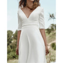 Deep V-Neck Short Wedding Dresses