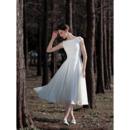 Simple Open Keyhole Back Short Summer Chiffon Wedding Dresses with Cap Sleeves