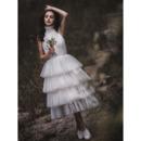 Beautiful Tea-Length Summer Tulle Wedding Dresses with Layered Ruffle Skirt