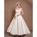 Elegantly Ankle-Length Satin Wedding Dresses with Low Back and Big Bowknot
