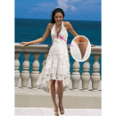 Perfect Halter-neck High Low Asymmetrical Hem Summer Beach Lace Wedding Dresses