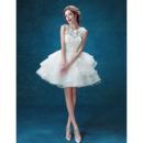 Ravishing Three-Dimensional Floral Mini Wedding Dresses with Tiered Bubble Skirt