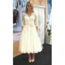 Elegantly V-Neck Tea Length Lace Wedding Dresses with Half Sleeves