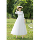 Classically Elegant Boat Neckline Summer Tea-Length Wedding Dresses with Beaded Embroidered